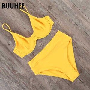 RUUHEE Bikini 2020 Badebekleidung Frauen-Badeanzug Feste hohe Taillen-Bikini-gesetzte Badeanzug Frauen Bademode Bügel Zu