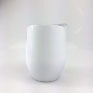 DIY transferencia de calor / Sublimación 12 oz vaso de vino de acero inoxidable Copas de vino Copas de huevo sin pie copas de vino con tapa en stock