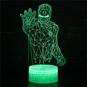 La colección de películas Suntint 3D ilusión óptica de Iron Man noche durmiendo múltiples colores claros Powered USB Lámpara Cuarto de Decoración