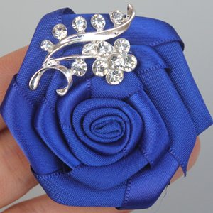Artificial Satin Flower Groom Corsage Royal Blue Flower Crystal Jewelry Bride Wedding Corsage Pin Brooches for Man Suit XH0038-2