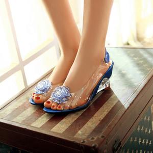 SaraIris Grande Taille 30-43 Mode Été Strass Fleur Wedge Talons Hauts Casual Gelée Chaussures Femme Sandales Chaussures Femmes