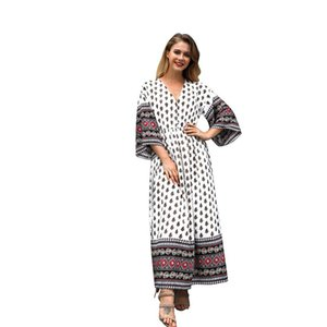 Summer new 2020 women's printed V-neck bohemian waist contrast color stitching new dress