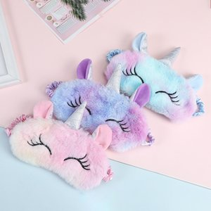 Soft Silk Unicorn Toy Eye Mask Sleeping Mask Plush Eye Shade Cover 3D Cartoon Eyeshade Relax Mask For Travel Home Party Gifts