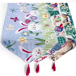 Conejo Pascua algodón Mantel de lino feliz del huevo de Pascua de Mesa 200 * 35cm Mantel Pascua del hogar decoración de escritorio