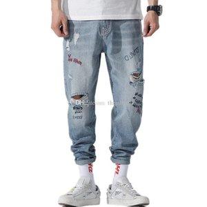 Mens Designer Jeans Fashion Distressed Zipper Ripped Jeans 19ss Mens Designer Skinny Biker Pants Blue Hip Hop Denim Pants 28-40