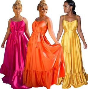 Sólido Designer Womens Cor Vestidos Moda Spaghetti Strap solto plissadas Maxi vestido sexy vestido sem mangas Sashes