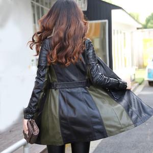 WERTUIOP 2019 New grande tamanho S-4XL Black Leather Feminino Longo Magro Jacket casaco de pele de mulheres cobrem a maré feminino Roupas Casacos
