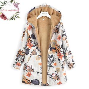 2018 Vintage Women Floral Printed Winter Coat Women Long Sleeve Woolen Long Warm Coats Hooded Zipper Ladies Jackets Female Parka