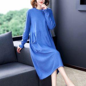 Tejer lana de manga larga del bolsillo de Corea nueva edición flojo suéter fino vestido de las mujeres suéter verde caqui azul ropa de abrigo negro