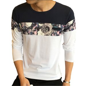 New Design Fashion T Shirt 2016 Autumn O Neck Casual T-Shirt Men Long Sleeve Flower Patchwork Slim Fit Mens Clothes Tops Tees