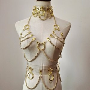 New Fashion Sexy Harajuku Handmade Choker Harness Punk Collar Belt Necklace Spikes And Chain Torques Club Party Two Layers J190526