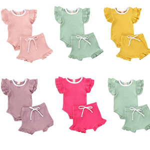 0-18M Newborn Baby Clothes Sets Summer Baby Boy Girl Ribbed Cotton 2Pcs Ruffles Sleeve Bodysuit+Lace-up Shorts Outfits