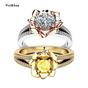 Visisap Luxury Blossoming Rose Flowers Rings for Women Yellow White Gold Color Party Ring Gifts Dropshipping Accessories B2181