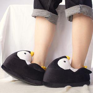 Crianças de Inverno Início de algodão sapatos macios antideslizantes Fluffy Slippers bonito dos desenhos animados Plush Chinelos mulheres Animais Pinguim Sapatos de interior