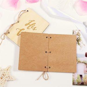 Wooden Wedding Vow Books Wedding Card Box Kraft Paper Booklet Vow Notebook For Gift Journal Engagement Wedding