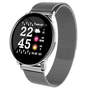 W8 Smart Watch Wasserdicht Männer Frauen Blutdruck Herzfrequenz Activity Tracker Pedometer Sport Fitness Smart-Uhren Edelstahl-Bügel