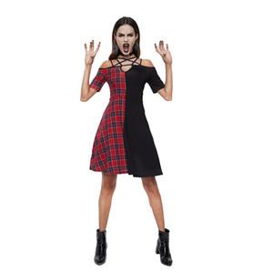 Rosetic Kadınlar Ekose Elbise Vintage Kırmızı Siyah Patchwork Elbiseler Kadın Kısa Kollu Vestidos De Fiesta Goth Seksi Parti Giymek