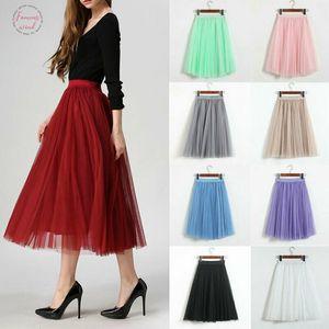 9 Styles Womens Tulle Plain Pleated Skirt 2019 New Fashion Mesh Midi Skirt High Waist Woman Skirts 3 Solid Layers