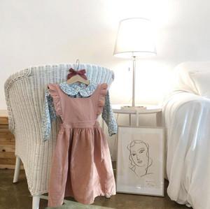 Çocuklar Kız giysi tasarımcısı Elbise Sonbahar Uçan Kolsuz O-Boyun Düz Renk Çift Tüm Maç Uzun Elbise Koton Kenevir Prenses Kız giyim