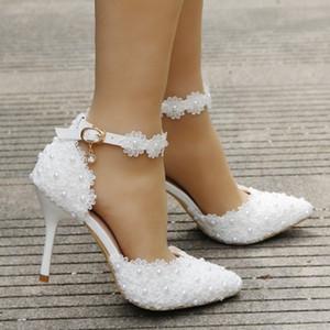 Fontes desejo Amazon Laço branco Wedding Shoes Uma palavra cinta salto agulha do dedo do pé Pointed noivas sandálias de casamento 9 centímetros Bombas sapatos de noiva