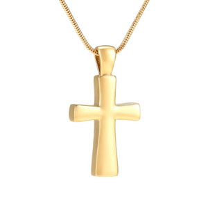 Gold & Steel Tone Polish Stainless Steel Cross Urn Necklace Memorial Ashes Keepsake Cremation for Love Pendant+Free Funnel