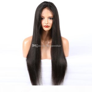 Human Hair Lace Front Wig Silky Straight Pre Plucked Hairline Soft Brazilian Virgin Hair Full Lace Wig 150% Density With Baby Hair