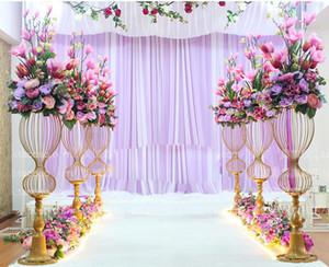 89cm Hoch Metall Hochzeit Straße führt Blume Stand Hochzeit Gang Dekor 2020 Meerjungfrau Stil Gold Party Blumenvase Straße führen