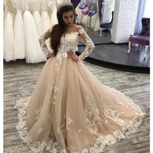 Unique Champagne Long Sleeves Lace Wedding Dresses Sweep Train A Line Newest Arabic Bridal Dress Vestido De Casamento Cheap
