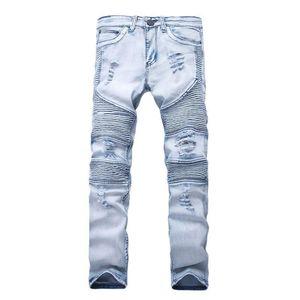 New Designer Mens Jeans Skinny com Slim Elastic Denim Moda bicicleta Luxo Jeans calças dos homens rasgado Buraco Jean Para Homens Plus Size 28-38