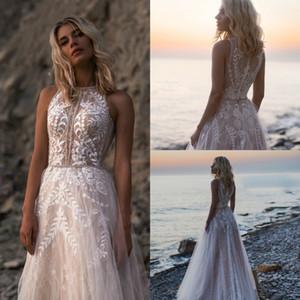 New Wedding Dresses 2020 Jewel Lace Appliques Beads Bridal Gowns Button Back Beach A Line bhldn Vestido de novia