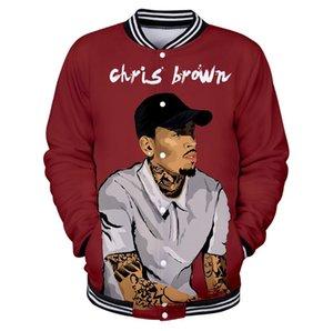 آخر مغني راب 3D كريس براون سترة ثلاثية الأبعاد الرجال / النساء Harajuku الشباب سترة البيسبول بارد كريس البني ارتداء البيسبول