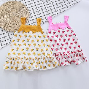 kids baby girls sleeve patch print off shoulder dresses casual summer clothing toddler girl children dress 2-7Y