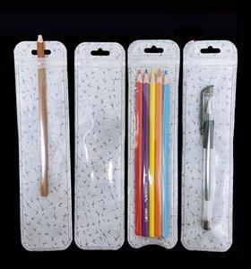 Borsa a cerniera lunga in plastica trasparente con cerniera con cerniera traslucida con foro per appendere
