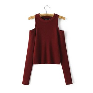 Women Sweaters And Pullovers Fan In Europe Fashion Sexy Strapless Crewneck Sweater Slim Fit Off Shoulder Short Sweater