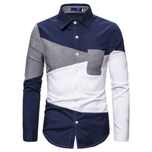Mens Designer T-Shirts Striped Printed Herbst beiläufige Panelled Revers Hals Shirts Herrenmode Shirts