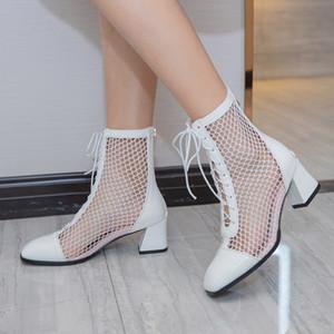 2020 zapatos de verano de las mujeres botas de malla zapatos sexy tacones altos Hueco-hacia fuera Tamaño del estilo de Roma ata para arriba 33-43 neto