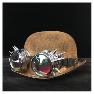 النساء steampunk من الرامي قبعة الرجعية لوليتا الذهب نظارات توبر الأعلى القبعات فيدورا أغطية الرأس تأثيري الساحر بليك العريس قبعة