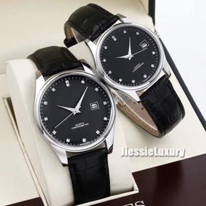 Top marca diamantes Master Collection de plata romanas de cuero Dial relojes L redondo clásico hombres mujeres wirstwatches de cuarzo reloj de los pares Flagship