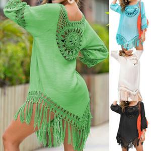 2020 Yaz Kadın Kadın Plaj Giyim Elbiseler Üst Bikini Cover Up Hollow Out Bohemian Boho Mayo Yıkanma Casual Güneş Elbise