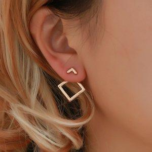 Luxo Oco out Praça Mulheres Brincos Menina Geometria Do Vintage Ear Studs Simples Partido Anéis de Ouvido