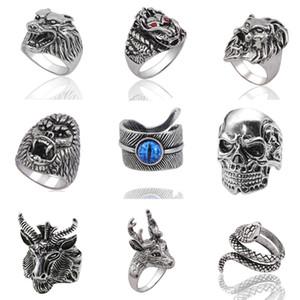 Gothic Punk Ring Männer Schmuck Retro Dragon Rabbit Snake prägnanten Tiger Wolf Männer Ringe Skeleton Devil Evil Eye Pentagram Männliches Tier Ring