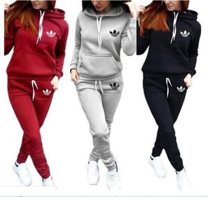 2020 Nova Mulheres Esporte Treino moletom com capuz Calças 2 duas peças mulher Set Outfit Womens Casual Sweat Suits sweatsuits roupa