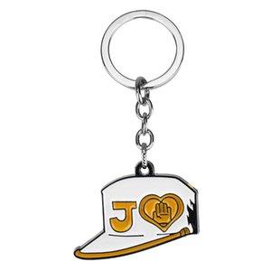 Anime JoJos Bizarre Cadeia Aventura Key boné de beisebol Forma Keychain Figura pingente de metal Car Key Anel 24PCS / lot GROSSO