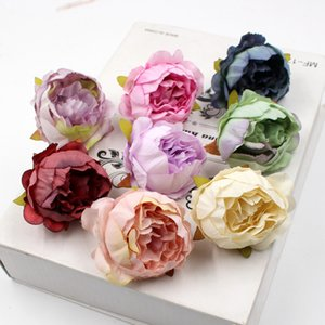 5pcs lot 5cm High Quality Peony Flower Head Silk Artificial Flower Wedding Decoration DIY Garland Craft Flower Party Suppliers