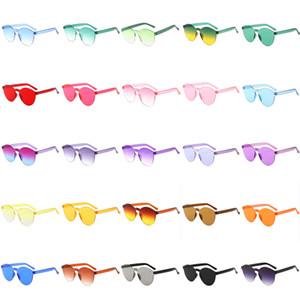 Mode-Rundrand Klar Jelly farbige Sonnenbrille Frameless Männer schattiert Gläser Gradient Transparent Brillen Frauen Mode-Accessoire 27colors
