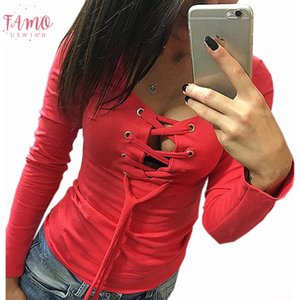 Casual Bottoming Shirt Autumn Long Sleeve Tops Solid Lace Up Ladies Sexy Shirts Fashion Slim Bandage Shirts Blusas Women Tops Lx068