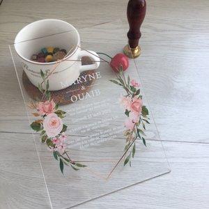 우아한 로맨틱 10PCS 웨딩 초대 카드 팬시 사용자 정의 다채로운 인쇄 꽃 초대장 도매 기타 이벤트 파티 용품