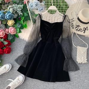 JoinYouth 2020 Autumn Pleuche Party Dress Puff Sleeve Mesh Patchwork Women Mini Dresses A-line Pleated Vintage Vestidos J164 T200319