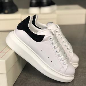 Hot Blanco Black Platform Sneaker Hombres Mujeres Calfskin Zapatos casuales Cordones delgados Patry Zapatillas de boda Sneaker de gran tamaño con caja us4-12