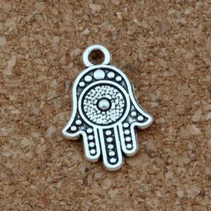 Hamsa Charm main Pendentifs 100pcs / lot alliage d'argent antique mode Bracelet bricolage Fit Collier Boucles d'oreilles 12.2x18.2mm A-377
